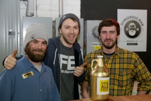 Rob Miller, Keigan Knee, Matt Wallace, and a Golden Growler.